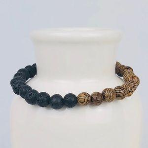 UNISEX | Lava Volcanic & Wood Beaded Bracelet-25